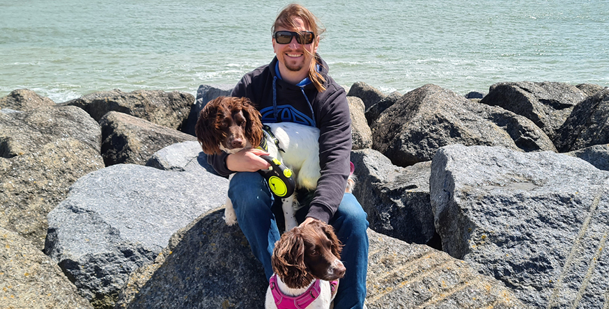 Mark Baxter with his dogs